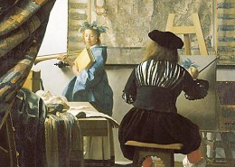 "Jan Vermeer, ""The Art of Painting,"" circa 1666, detail. The woman is dressed as Clio, muse of history."