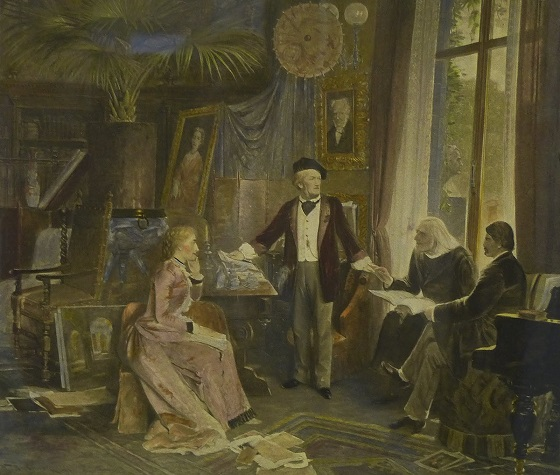 Richard Wagner, Cosima Wagner, Hans von Wolzogen, and the elderly Franz Liszt at Haus Wahnfried Bayreuth circa 1880 (note the portrait of Schopenhauer behind Wagner) (Photogravure by Franz Hafnstaengl after an oil painting by Wihelm Beckman, Liszt Museum, Bayreuth)